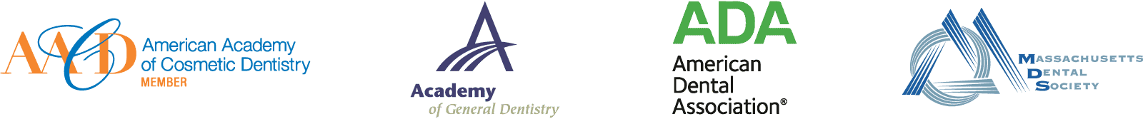 Dr. Sheng's accredations from the American Association of Cosmetic Dentistry, Academy of General Dentistry, American Dental Association, and the Massachusetts Dental Society